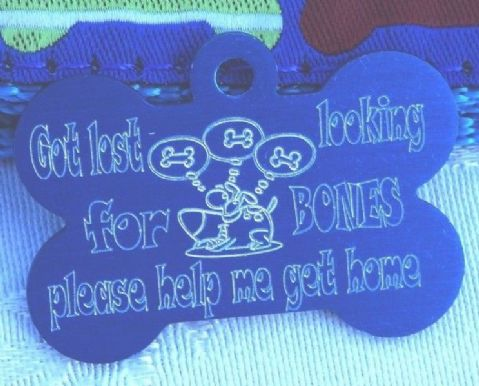 FUNNY DOG TAG GOT LOST LOOKING FOR BONES 38MM BONE SHAPE PERSONALISED TAG